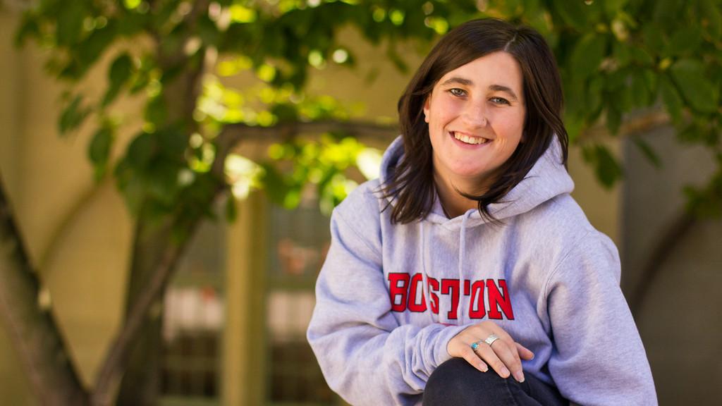 Caitlin Bawn poses on the Boston University campus, Boston, Mass.