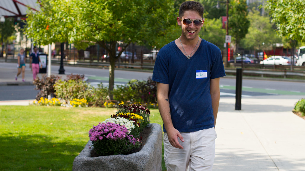 September 6, 2014, Alex Hirsch, journalism student poses outside of Boston University College of Communication assignment for Journalism Toolkit JO502.