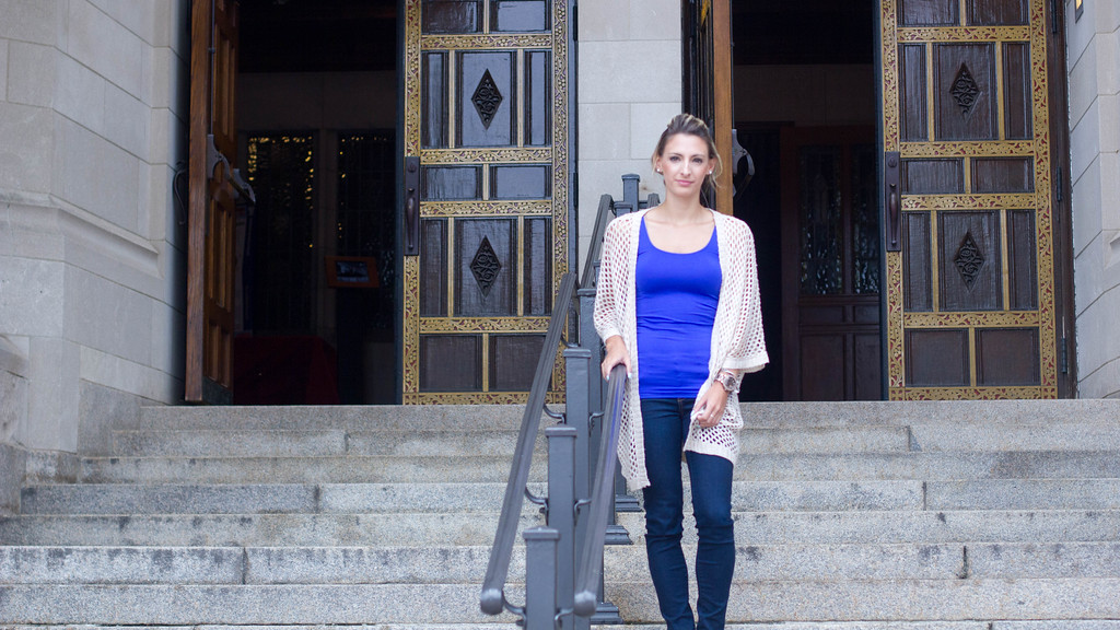 Christina Lob poses for pictures at Marsh Chapel on September 11th, 2014