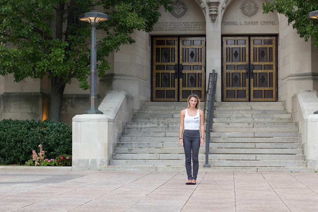 Christina Lob, a student at Boston University poses outside of Marsh Chapel on September 6th, 2014.
