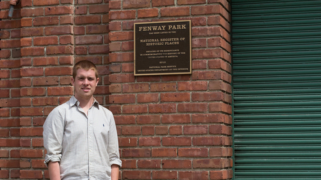 September 9, 2014. Pat O'Rourke, journalism grad student at Boston University, stands outside Fenway Park in Boston, MA.