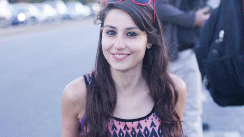 Genevieve Scorano, COM Grad student at Boston University poses for a photo at packards corner in Boston.