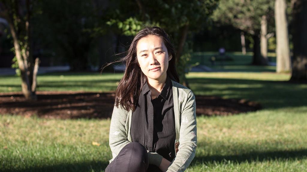 Yanshu Li sitting outside the Waterworks Museum at Chestnut Hill on Sept. 12