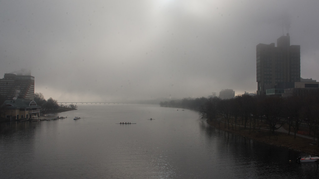 """Fog over the Charles River Wednesday morning. This is a segment from the """"24 hours, two bridges"""" project."""