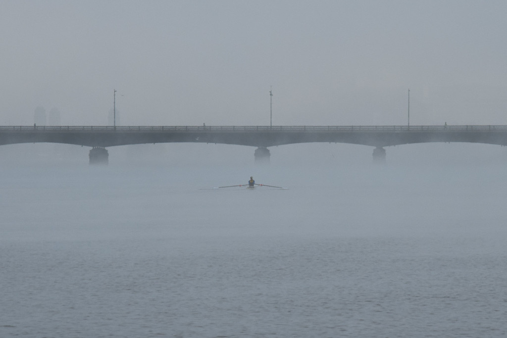 """Scenes from the Esplanade on the 11th of April. This is a segment from the """"24 hours, two bridges"""" project. Crewman rows the Charles through the morning fog."""