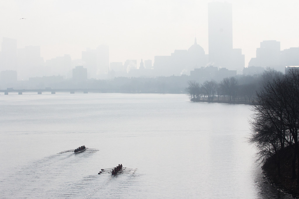 """Rowers dot the Charles River during practice on April 11. This image is part of  the 24-hour project """"Between the Bridges."""" Photo by: Lauren Fogelström"""