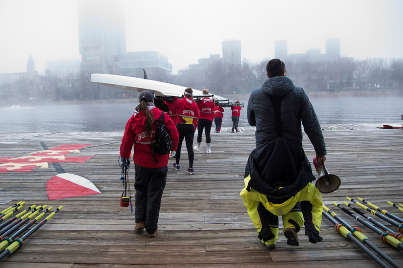 "The Boston University Women's Rowing Team gets ready for a foggy morning practice on Wednesday. This is a segment from the ""24 hours, two bridges"" project."