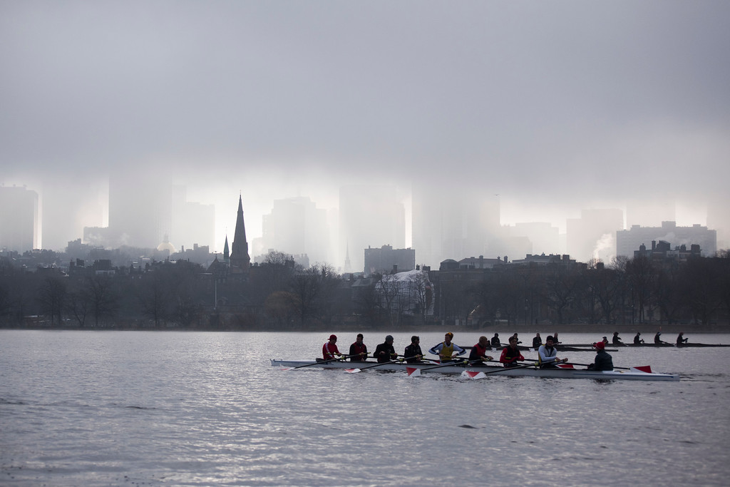 """The Boston University Men's Rowing Team practices on the Charles River on a foggy Wednesday morning. This is a segment from the """"24 hours, two bridges"""" project."""
