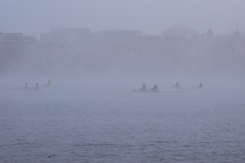 "Scenes from the Esplanade on the 11th of April. This is a segment from the ""24 hours, two bridges"" project. Crewman row the Charles through the morning fog."