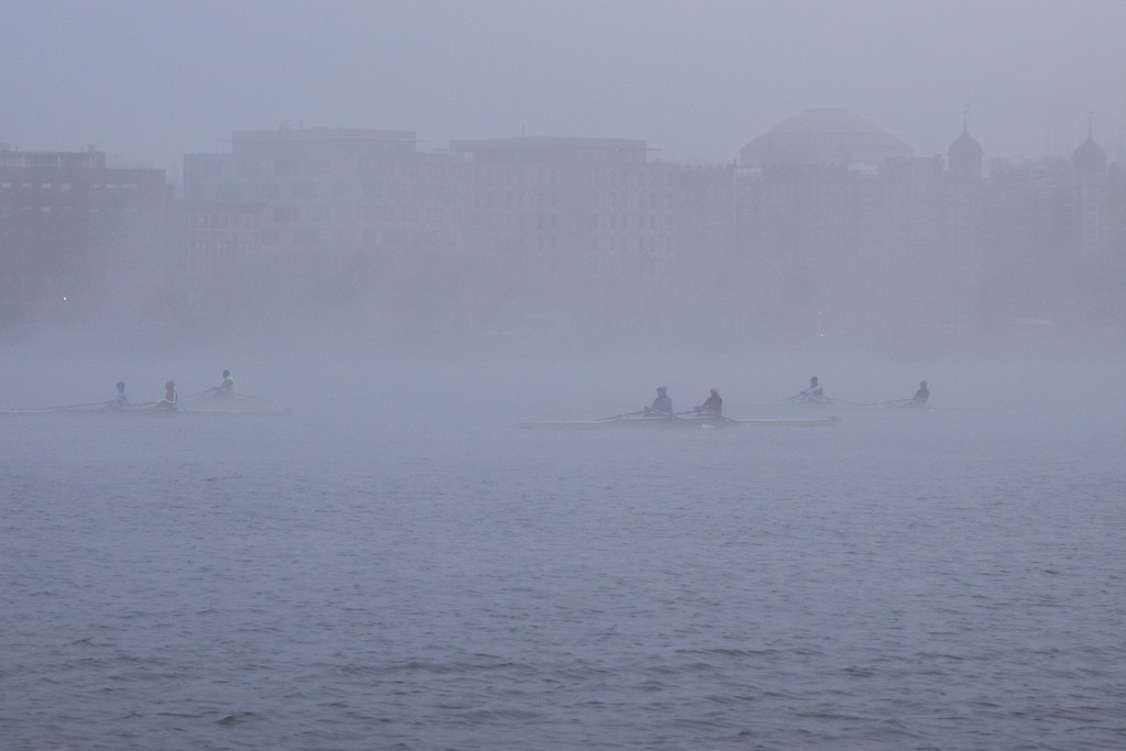 """Scenes from the Esplanade on the 11th of April. This is a segment from the """"24 hours, two bridges"""" project. Crewman row the Charles through the morning fog."""