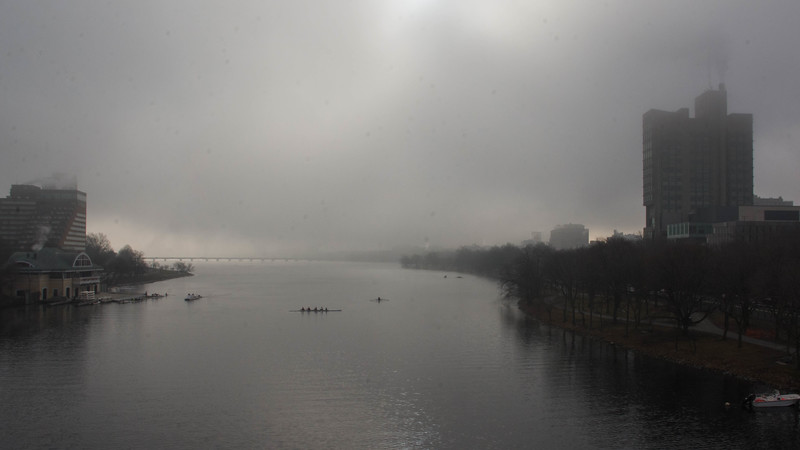 "Fog over the Charles River Wednesday morning. This is a segment from the ""24 hours, two bridges"" project."
