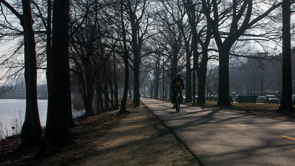 """A cyclist rides along the Esplanade along the  Charles River Wednesday morning. This is a segment from the """"24 hours, two bridges"""" project."""