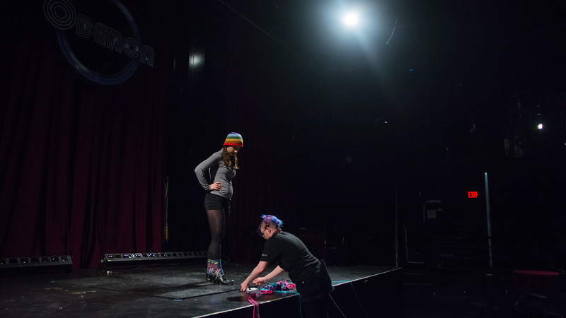 Jo Troll and Katrina Sistare discuss sound during the tech rehearsal for Femmeshow at OBERON theatre in Harvard Square, April 19.
