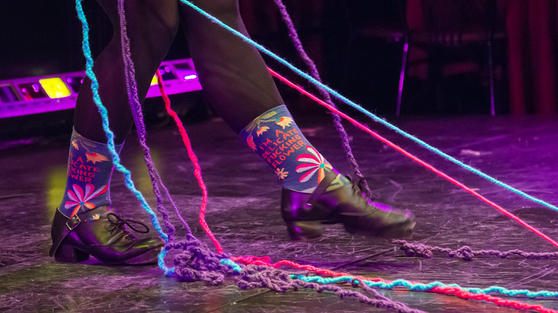 Jo Troll performs wearing their favorite socks during the tech rehearsal for Femmeshow at OBERON theatre in Harvard Square, April 19.