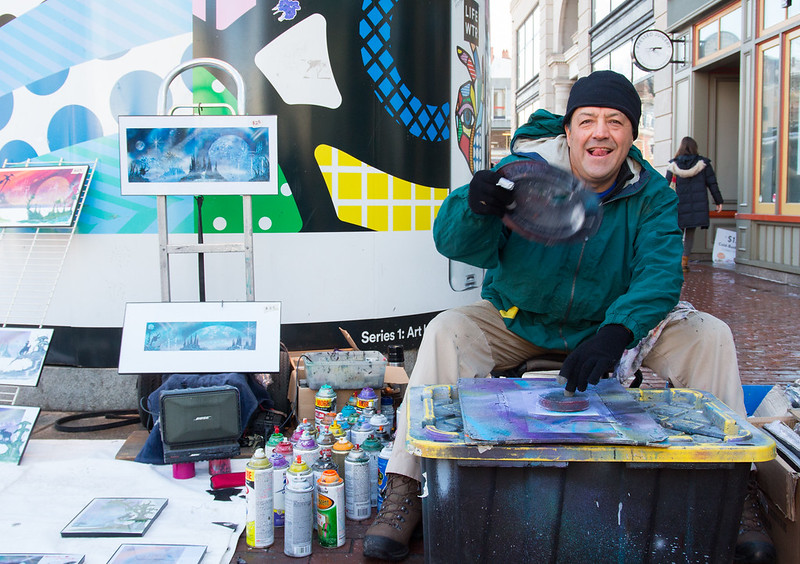Antonio Maycott, 54, originally from Mexico City but a current resident of Cambridge, has been a street artist for over 20 years, spray painting science-fiction and fantasty inspired  images. He begins a new piece that will depict a wolf, in Harvard Square, Cambridge on Feb. 18.
