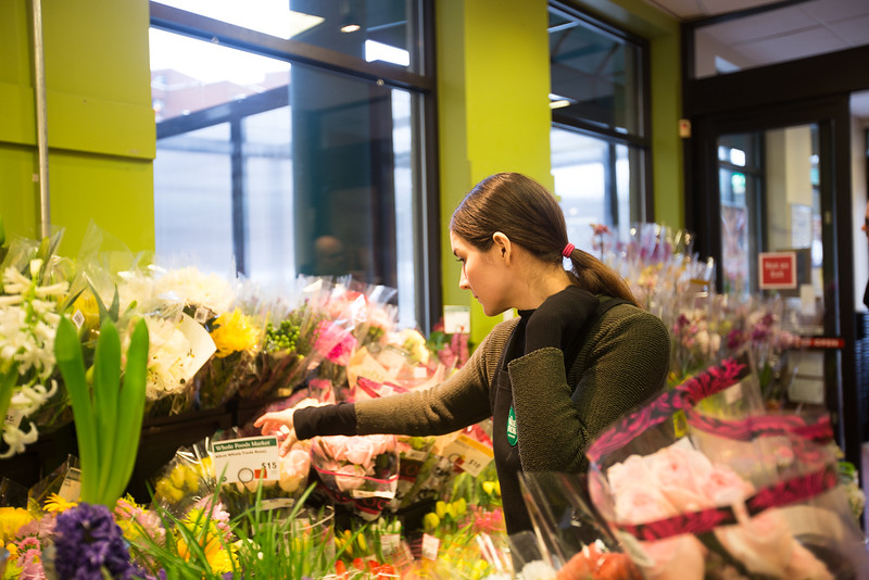 After teaching English in Korea for several years, Pamela Cormier deicided to come back to America. This is her first time working as a flower keeper. After all these years working in a foriegn country, Pamela chose to work in the Whole Foods Market flower section for a slowe-pace life.