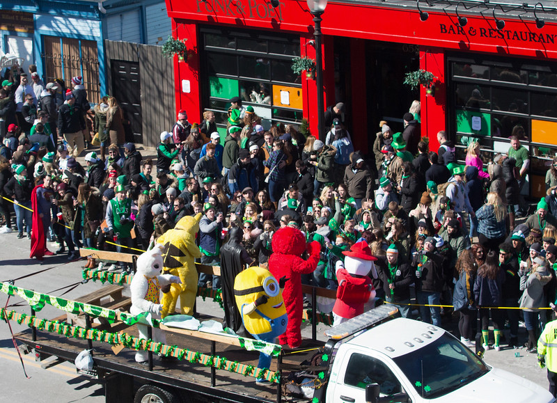A float of cartoon characters entertain the crowd during the 2018 St. Patrick's Day parade on March 18 in South Boston.