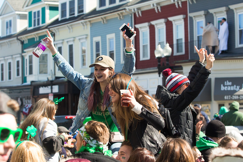 Sidewalks fill with parade-goers celebrating the holiday with their friends during a break in the floats at the St. Patrick's Day 2018 parade on March 18 in South Boston.