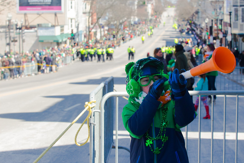 Patrick Donoghue, 9, before the start of the St. Patrick's Day Parade, which he attended with his mother in South Boston on March 18, 2018.