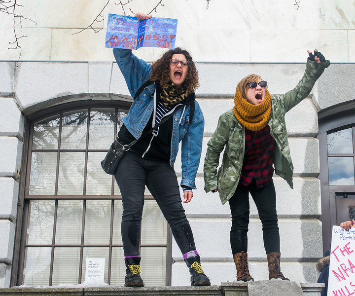 Jennifer Lima  (left) and Ava Quadros cheer as  protestors gather outside the Massachusetts State House during the Walkout for Action on March 14.