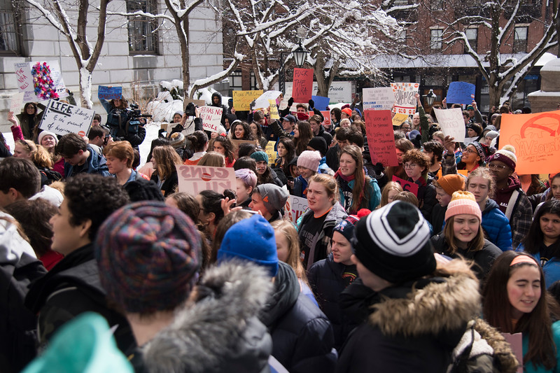 Students and activists, mostly from local high high schools, but some as young as elementary schoolers, gathered to demand continued gun control legislation at the Massachusetts State House March 13.