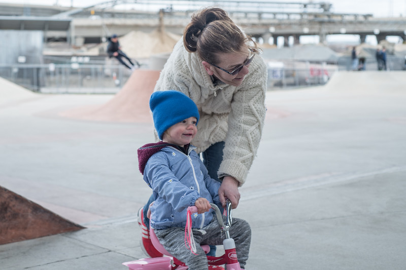 Judi Walker escorts her neice through the David Lynch Skatepark. (Photo by Billy Bevevino)