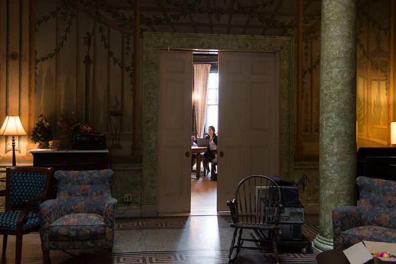 Erica Moreira, a Junior at Boston University, studies in the dining room of the Harriet E. Richards--HER--house, a women's cooperative residence hall at Boston University.