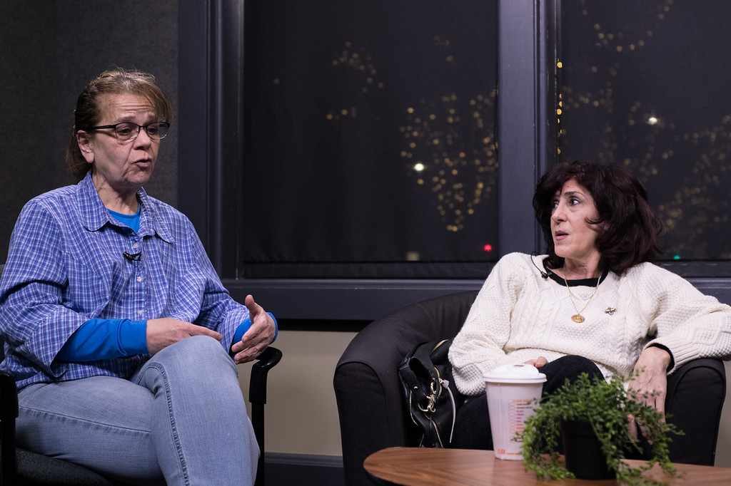 Judi Walker discusses her perspective on the stigma surrounding addiction on her talk show. (Photo by Billy Bevevino)