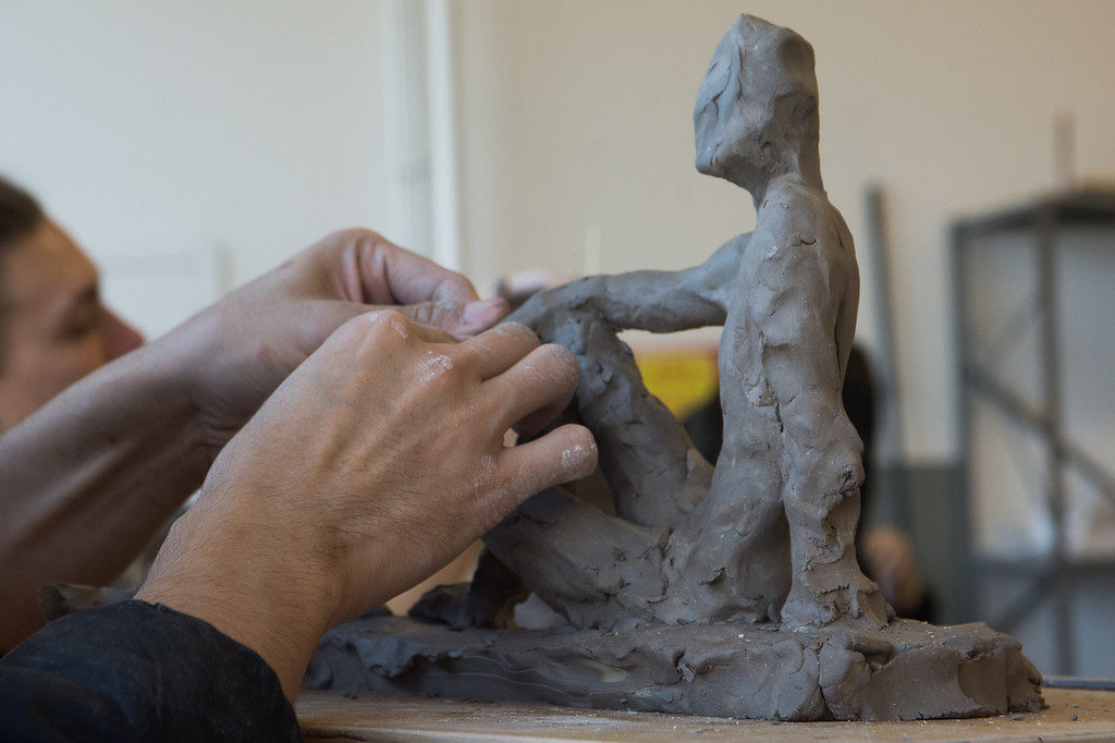 A student works on a sculpture during a studio class at Boston University's College of Fine Arts.