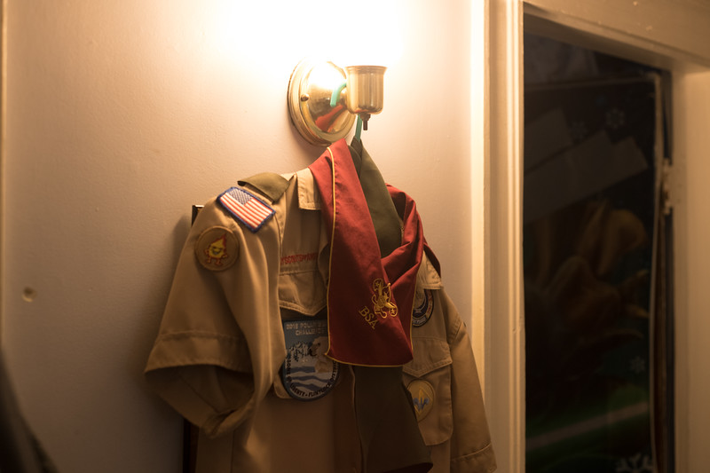 Jimmy Walker's boy scout outfit hangs in the hallway. (Photo by Billy Bevevino)