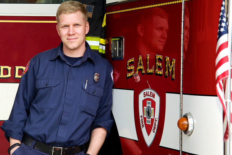 March 30, 2013- Justin Henderson, 29, of Salem, Massachusetts, has been at the Salem Firehouse for four years. Photo by: Jasmin Bleu Pellegrino