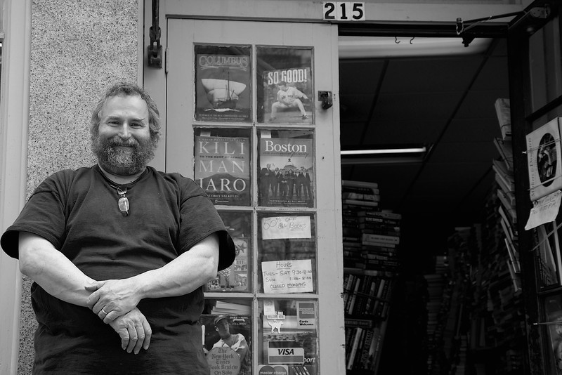 """March 30, 2013- Derby Square Book Store co-owner, Ted Monroe. """"My brother and I are the owners, we do different things and I enjoy what I do."""" Photo by: Jasmin Bleu Pellegrino"""