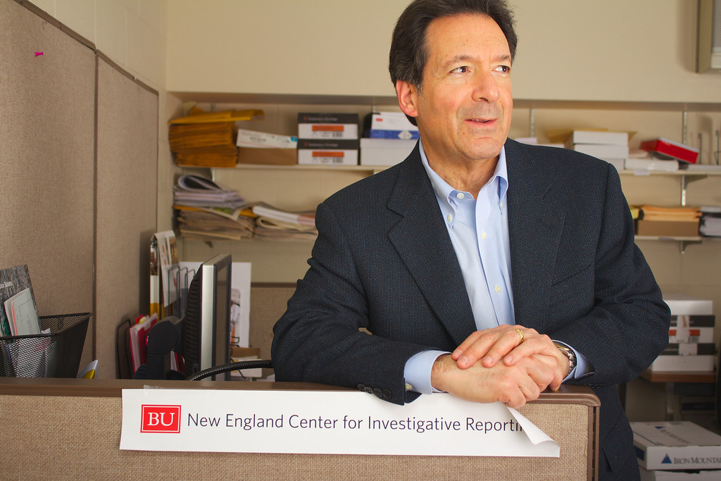 Joe Bergantino, co-director of the New England Center for Investigative Reporting, in his office at Boston University College of Communication.