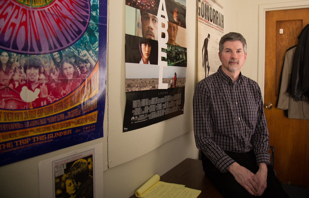 February 21, 2013 - John Hall, professor of film studies and head of the College of Communications Writing Center, in his office at Boston University. Photo by Alexa Gonzalez Wagner.