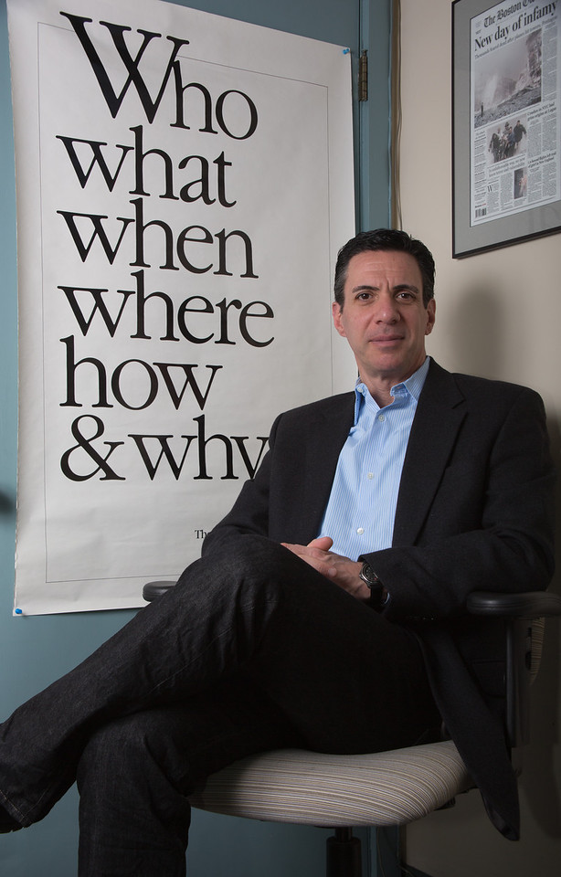 Feb. 20, 2013 - Mitchell Zuckoff, Professor of Journalism, in his office at Boston University. Zuckoff is a former reporter for the Boston Globe and the author of several books. Photo by Sarah Ganzhorn.