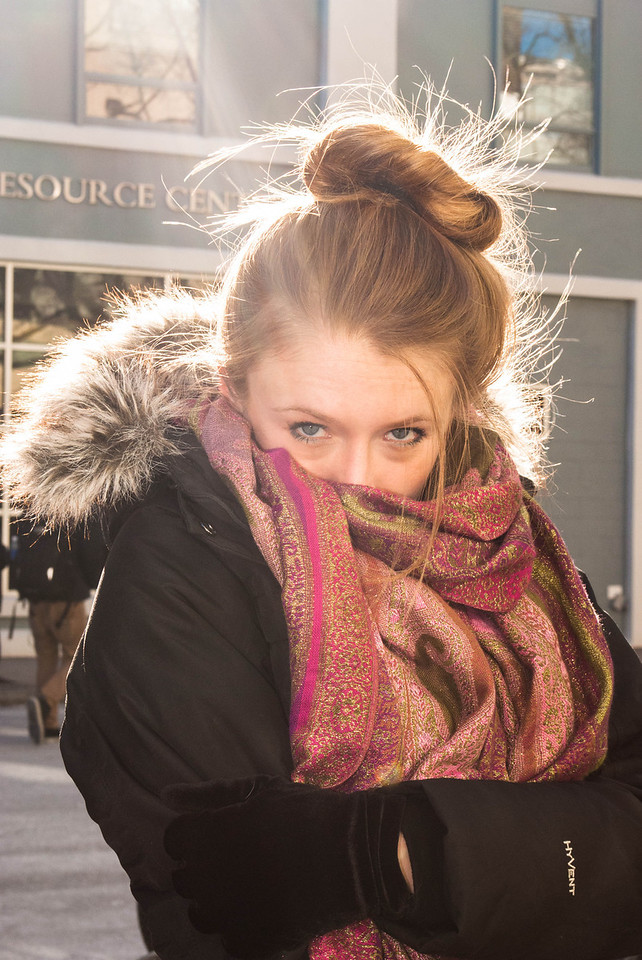 Michalea Vernavi takes portrait picture outside Boston University College of Communication on January 23, 2013.