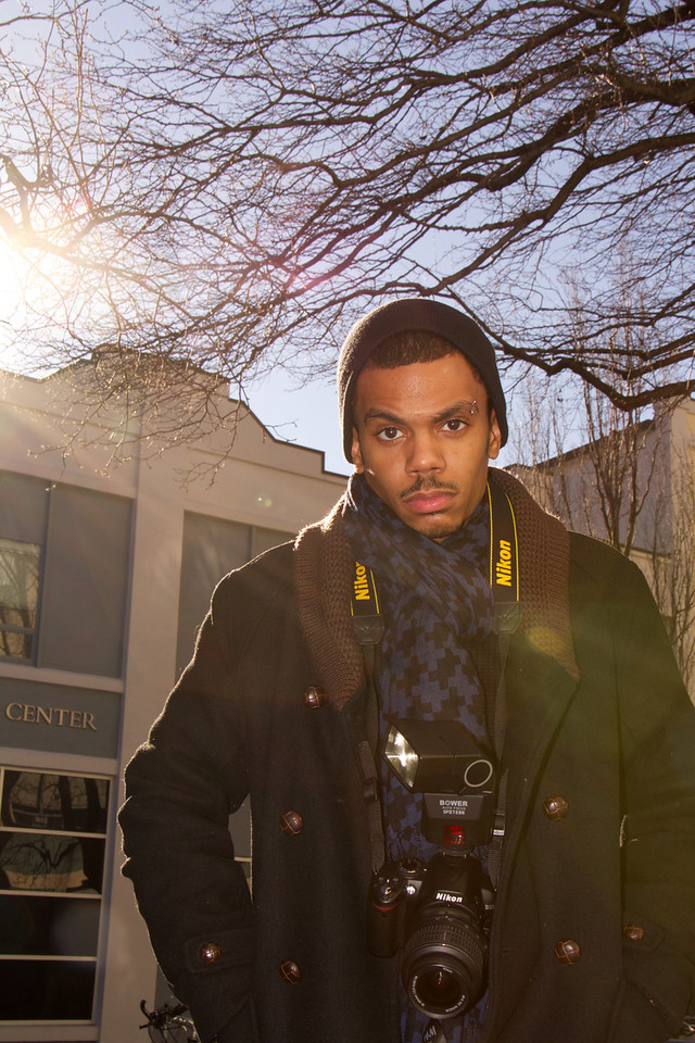 Boston University student Roneil Smith poses for flash photography portraits on Cummington St., Boston, MA on January 23, 2013