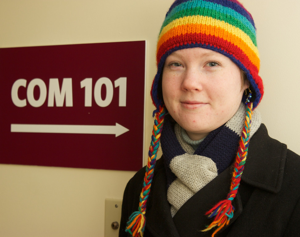 Sarah Ganzhorn outside the COM 101 lecture hall.