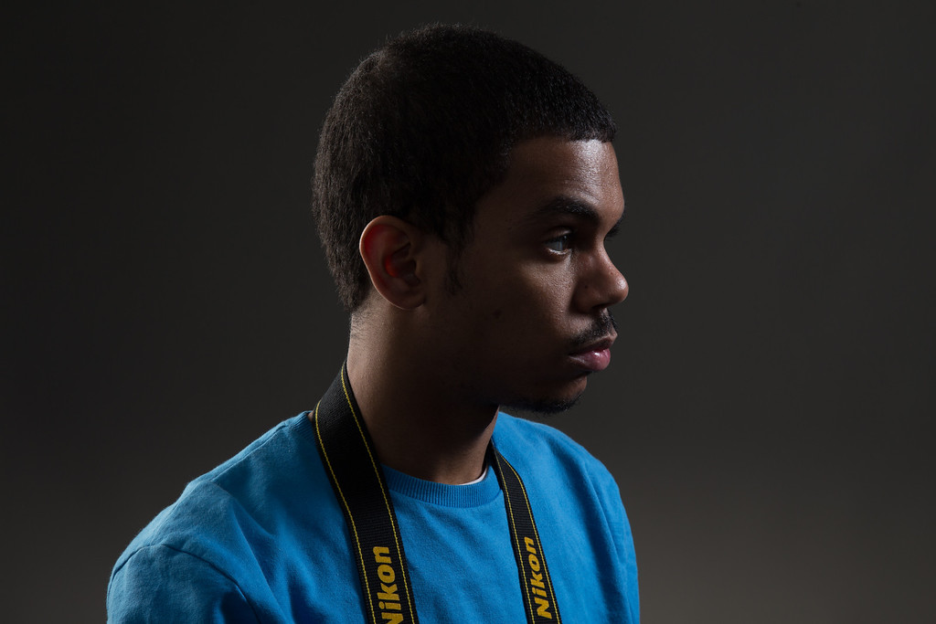 February 6, 2013 - Roneil Smith, a student at Boston University majoring in Advertising, poses for a portrait during a studio lighting class. Photo by Alexa Gonzalez Wagner.