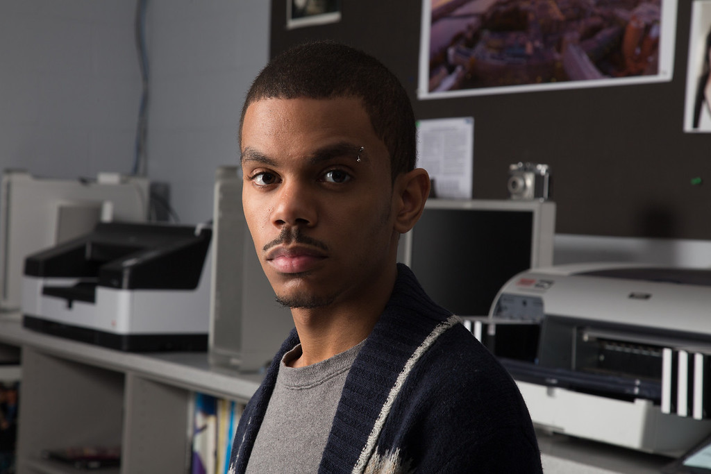 February 13, 2013 - Roneil Smith, a student at Boston University majoring in Advertising, poses for a portrait during a studio lighting class. Photo by Alexa Gonzalez Wagner.