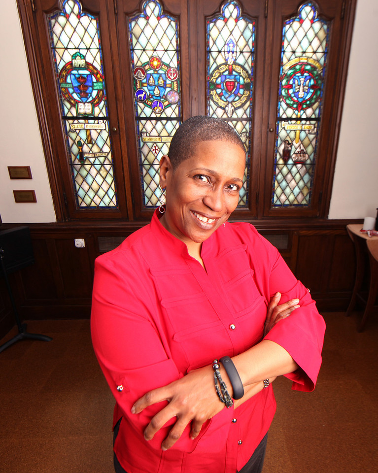 Pamela Lightsey poses for a portrait in the School of Theology at Boston University on March 19, 2014. Photo by Grace Donnelly.