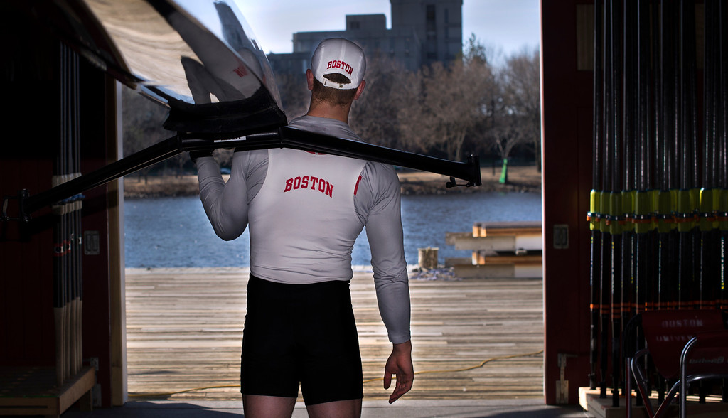 Co-Captain of the Boston University Men's Crew team, Kyle Peabody, poses for a photograph at the DeWolfe Boathouse on March 27th, 2014. Photo by Mackenzie Wiler.