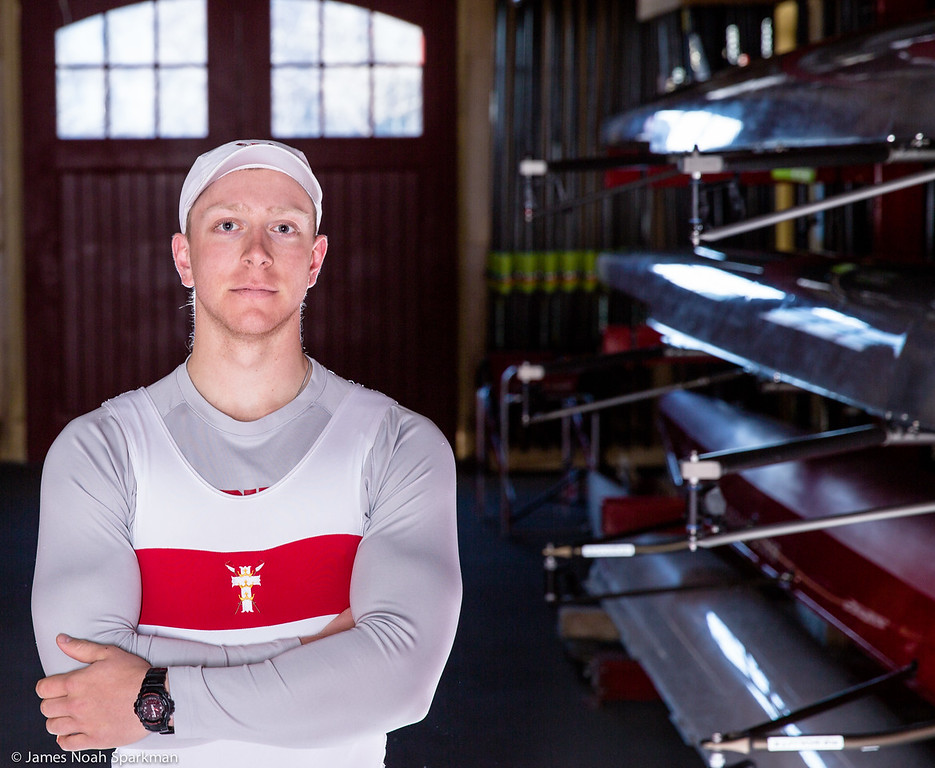Kyle Peabody, Co-Captain of the Boston University Men's Crew team poses for a photograph before the season opening race against Brown University Thursday March 27th, 2014 at the Dewolfw Boathouse, 619 Memorial Drive, Cambridge Mass. Kyle is currently a top applicant for the 2014 United States Rowing U23 Worlds team to compete July 23, in Varese, Italy. Photo by Noah Sparkman