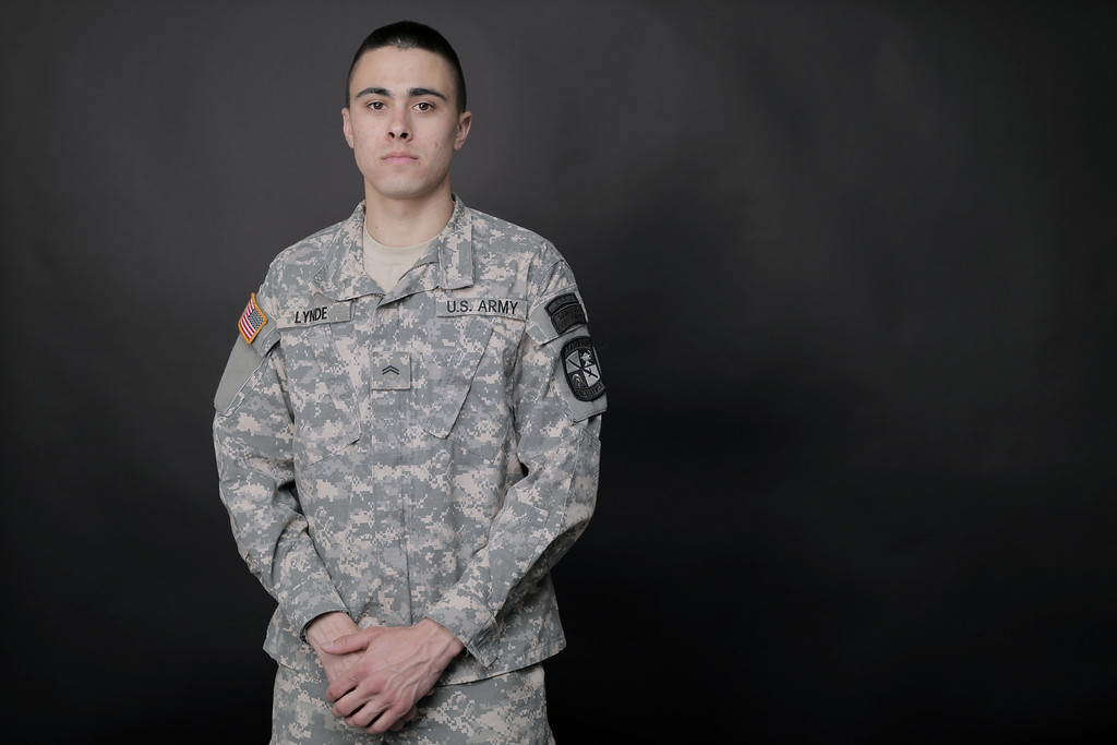 April 1, 2014. Cadet Alec Lynde of the BU ROTC stands for a portrait at the Boston University College of Communication. Photo by Dominique Riofrio