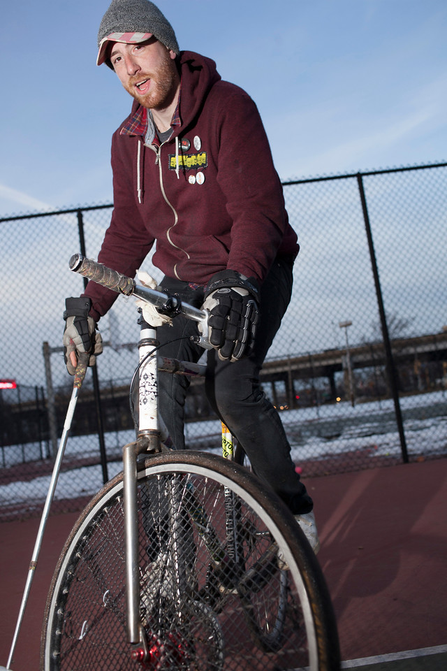 Eddie of the Boston Bike Polo Club poses for a portrait in Foss Park, Somerville on March 4, 2014. Photo by Grace Donnelly.