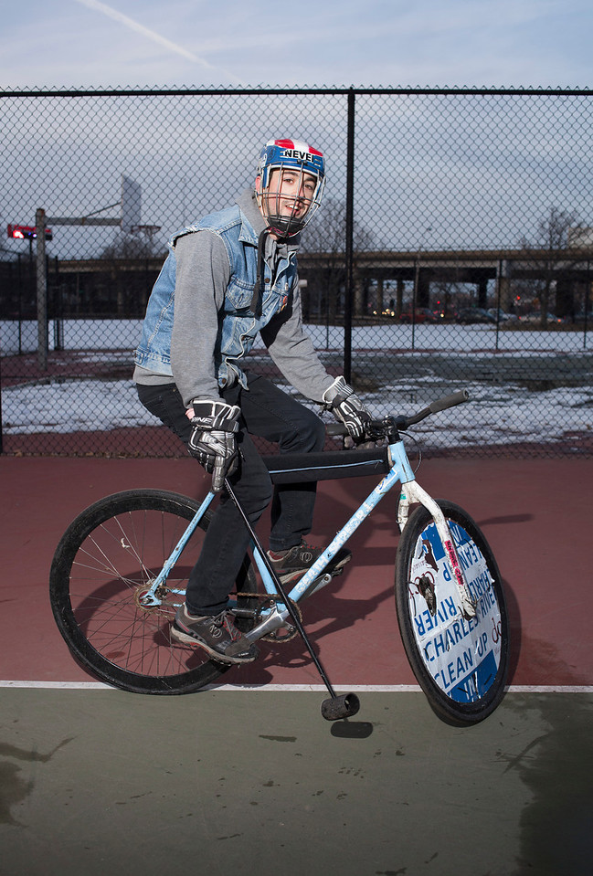 March 1, 2014. Addison Minott, president of the Boston Bike Polo club, poses for a portrait right after practice in Foss Park, Somerville, Mass. Photo by Dominique Riofrio.