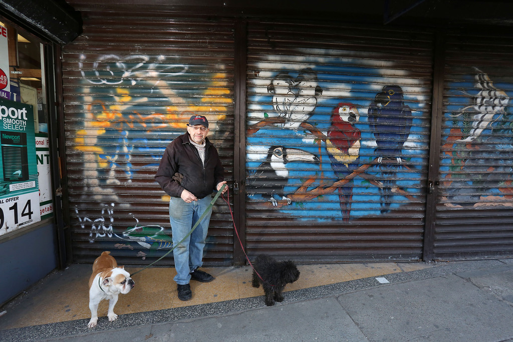 Jim Gentile, owner of The Pet Shop, poses for a portrait with two of his dogs before opening his store in Allston, Mass. on March 1, 2014. Photo by Grace Donnelly.