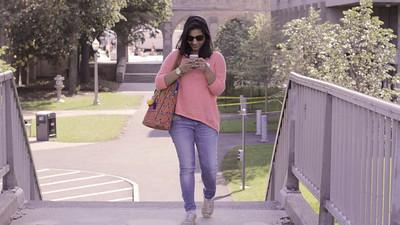 Shradhha checks her blog all the time. shot at Boston University central campus