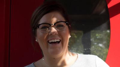Natalie Robson at food cart on Boston University campus, 2015.