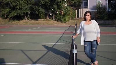 Natalie Robson at Brookline public tennis court, 2015.